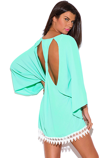 $20 - Cute cheap cheap clothes embroidered kimono sleeve boho tunic top - mint blue cut out back crochet trim kimono sleeve backless boho tunic mini dress