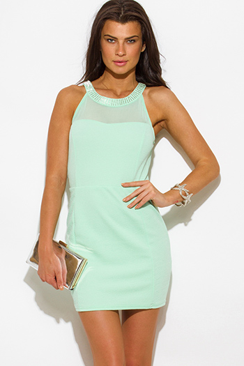 $10 - Cute cheap love point dress - mint green jacquard bejeweled mesh panel fitted bodycon pencil sexy party mini dress