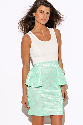 $10 - Cute cheap baroque cocktail mini dress - mint green lace print white peplum cocktail sexy party mini dress