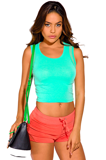 $5 - Cute cheap activewear sports tee yoga fitness sport work sporty track wear - mint green sporty mesh inset fitted crop tank top