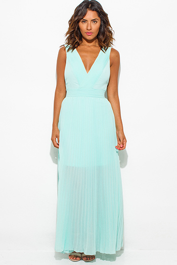 $20 - Cute cheap chiffon dresses.html - mint green pleated chiffon deep v neck sleeveless open back evening maxi sun dress