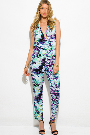 $20 - Cute cheap print pocketed jumpsuit - mint green purple watercolor print draped front sleeveless evening harem jumpsuit