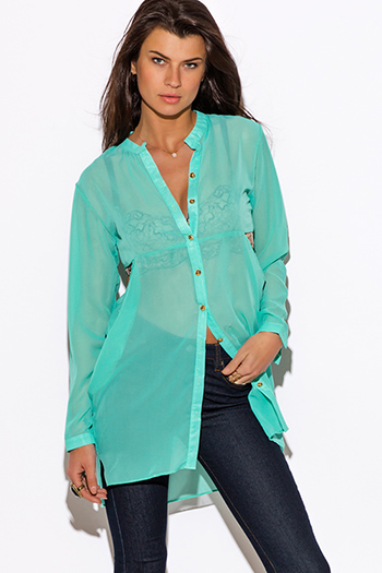 $15 - Cute cheap cut out sides banded waisted tank top - mint green sheer chiffon cut out tunic blouse top
