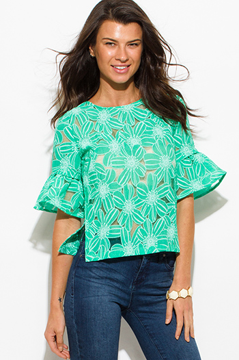 $15 - Cute cheap print top - mint green sheer rayon gauze floral print quarter bell sleeve boho blouse top