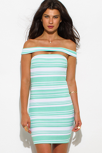 $10 - Cute cheap off shoulder mini dress - mint green striped textured off shoulder strapless bodycon mini sexy club dress