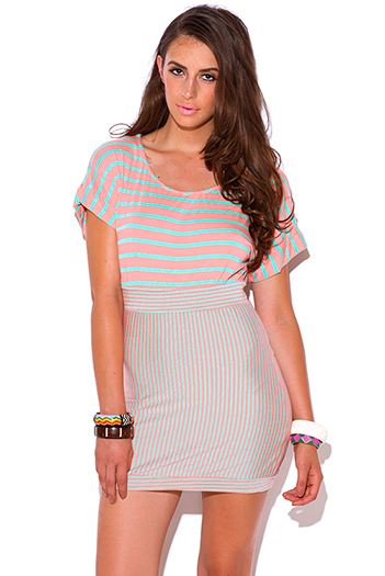 $10 - Cute cheap cut out sides banded waisted tank top - pink mint stripe cut out open back banded summer mini dress