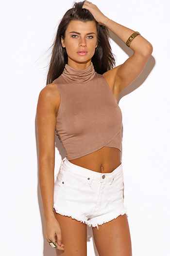 $10 - Cute cheap fitted tank crop top - mocha beige high neck fitted sexy party crop top