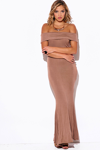 $15 - Cute cheap cute junior off shoulder denim jumpsuit - mocha beige off shoulder fold over evening sexy party jersey maxi dress