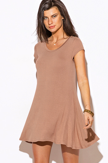 $15 - Cute cheap dress - mocha beige short sleeve tee shirt tunic top mini dress