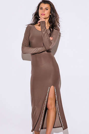 $15 - Cute cheap maxi dress - mocha bejeweled high slit long sleeve evening cocktail party fitted bodycon sexy club ankle maxi dress