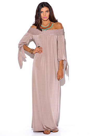 $15 - Cute cheap off shoulder dress - mocha smocked off shoulder sashed boho evening maxi dress