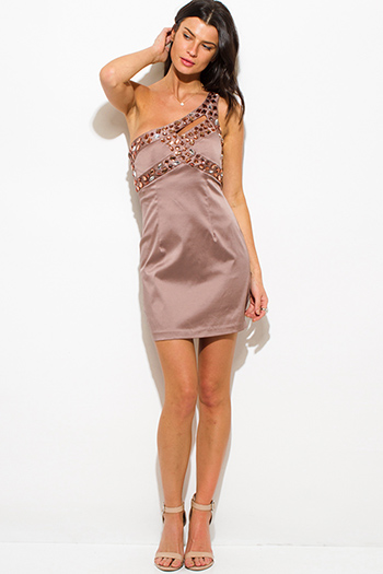 $10 - Cute cheap long sleeve fitted party mini dress - mocha brown bejeweled pencil fitted one shoulder formal cocktail party sexy club mini dress
