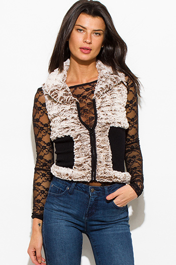 $15 - Cute cheap red quilted faux fur lined front zip banded hooded zipper pocketed crop puffer vest top - mocha brown black color block zip up faux fur banded fitted sexy clubbing vest