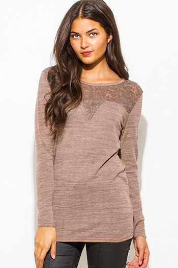 $15 - Cute cheap long sleeve sexy club catsuit - mocha brown cotton blend crochet lace contrast knit long sleeve sweater top