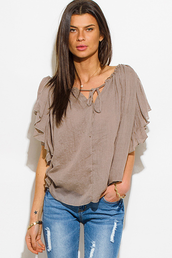$15 - Cute cheap ruffle blouson sleeve blouse - mocha brown cotton gauze flutter sleeve boho peasant blouse top
