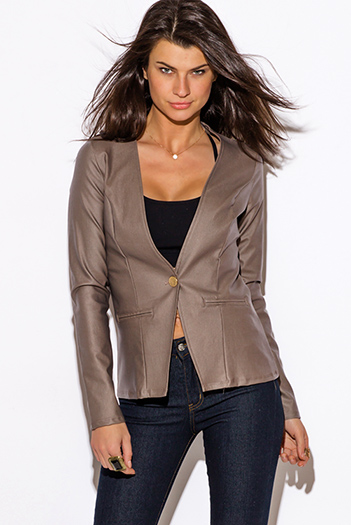 $10 - Cute cheap caramel brown faux leather ribbed bomber moto jacket - mocha brown cut out back long sleeve blazer jacket