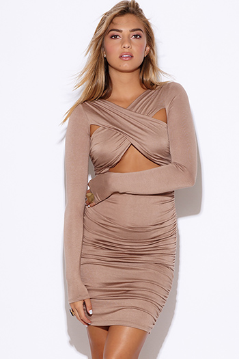 $25 - Cute cheap cute juniors dolman sleeve color block ruched sexy clubbing dress - mocha brown cut out criss cross long sleeve ruched fitted club mini dress