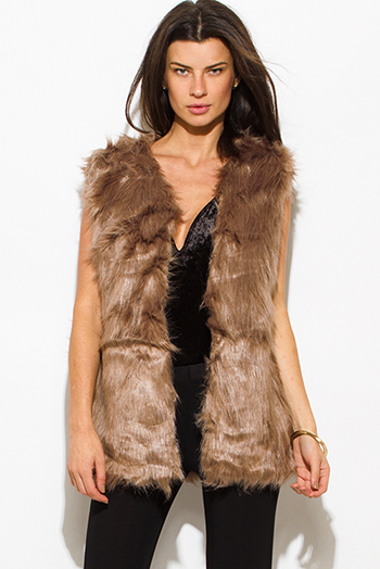 $40 - Cute cheap black gray faux fur sexy party vest top - mocha brown faux fur party vest top