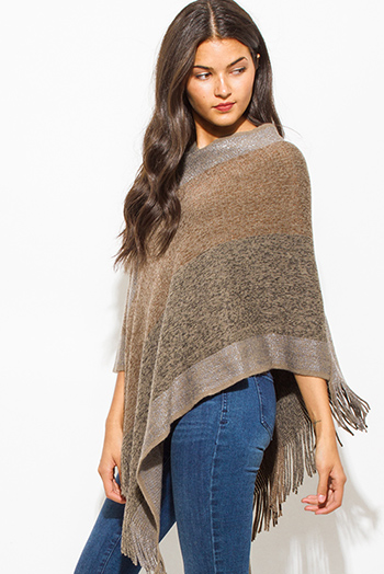 $20 - Cute cheap fringe top - mocha brown multicolor v neck boho fringe poncho sweater knit tunic top