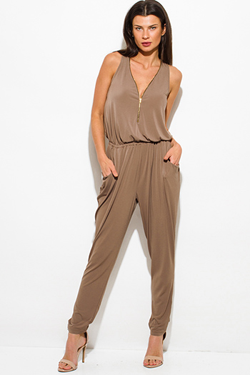 $25 - Cute cheap mocha brown sleeveless deep v neck golden zipper pocketed harem catsuit jumpsuit