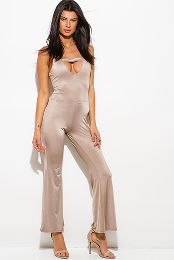 $7 - Cute cheap white low v neck animal print wide leg 2fer evening sexy party jumpsuit - mocha brown taupe cut out sweetheart backless wide leg evening cocktail party jumpsuit