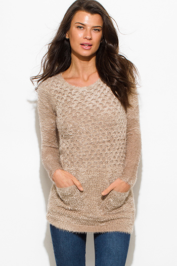 $15 - Cute cheap mocha brown textured fuzzy sweater pocketed long sleeve fitted sexy club tunic top mini dress