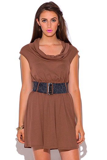 $5 - Cute cheap find sweater - mocha brown belted cut out backless sweater mini dress