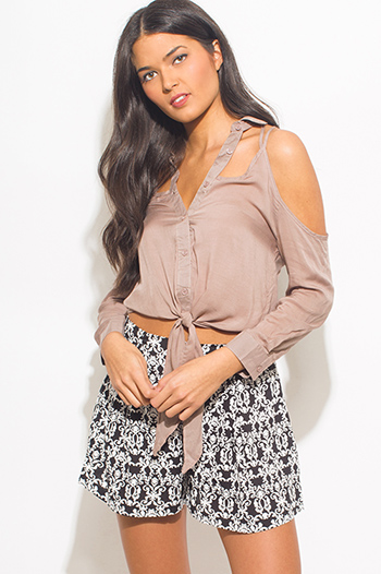 $10 - Cute cheap floral blouse - mocha cut out caged button up cold shoulder tie front chiffon blouse crop top