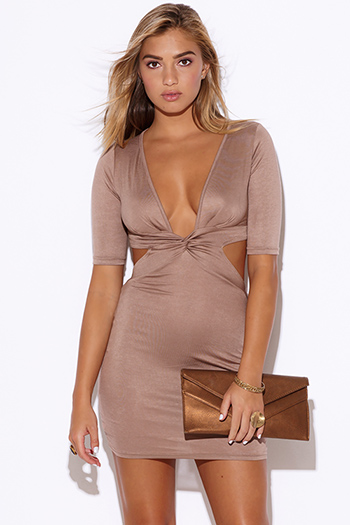 $15 - Cute cheap fitted dress - mocha deep v neck knot front cut out open back fitted bodycon sexy club mini dress