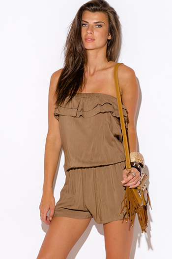 $5 - Cute cheap jumpsuit for women - mocha khaki ruffle pocketed strapless boho romper jumpsuit