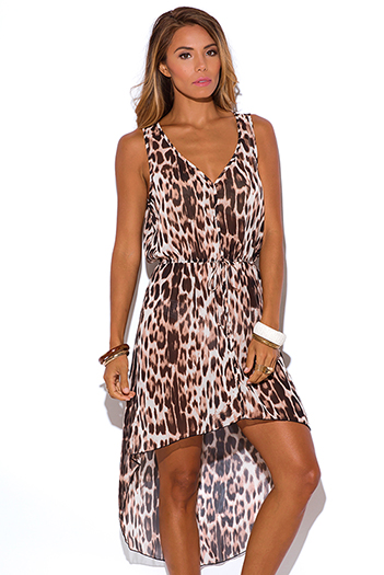 $10 - Cute cheap print sheer sun dress - leopard animal print sheer chiffon high low beach cover up see through sun dress