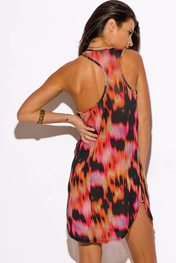 $15 - Cute cheap color coral dress - multi color abstract tie dye print cut out racer back fitted sexy club mini dress