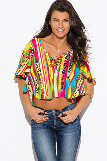 $9 - Cute cheap print chiffon boho top - multi color animal print chiffon flutter sleeve laceup boho crop top