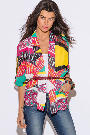 $15 - Cute cheap black collar mustard yellow blazer jacket 66327 - multi color ethnic print chiffon boho kimono blazer jacket