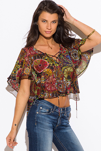 $9 - Cute cheap color coral dresses.html - multi color ethnic print chiffon flutter sleeve laceup boho crop top