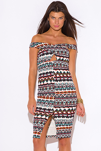 $20 - Cute cheap beige bodycon midi dress - multi color ethnic print off shoulder cut out slit pencil cocktail party bodycon fitted sexy clubbing midi dress