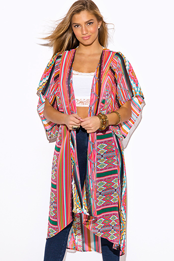 $20 - Cute cheap color coral dress - multi color ethnic print semi sheer chiffon boho cardigan kimono dress coat