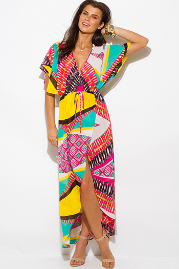 $25 - Cute cheap clothes - multi color ethnic print semi sheer chiffon kimono sleeve high slit boho maxi sun dress
