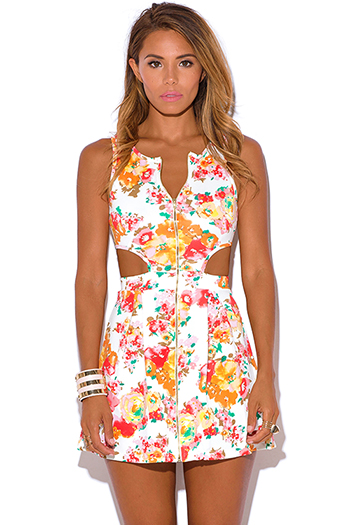$15 - Cute cheap styles skater dress - multicolor floral print zip up white a line skater sexy party mini dress