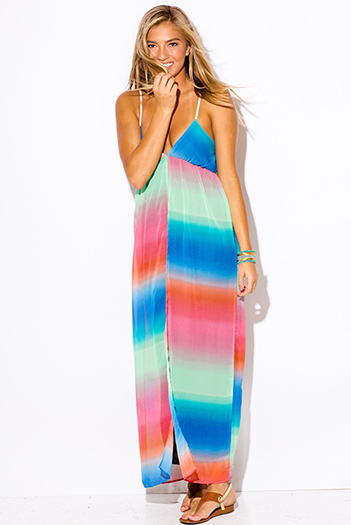 $10 - Cute cheap print chiffon slit maxi dress - tie dye print chiffon boho low v neck babydoll slit summer evening sexy party maxi sun dress