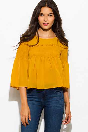 $15 - Cute cheap khaki blouse - mustard golden yellow chiffon shirred smocked flutter bell sleeve boho crop blouse top