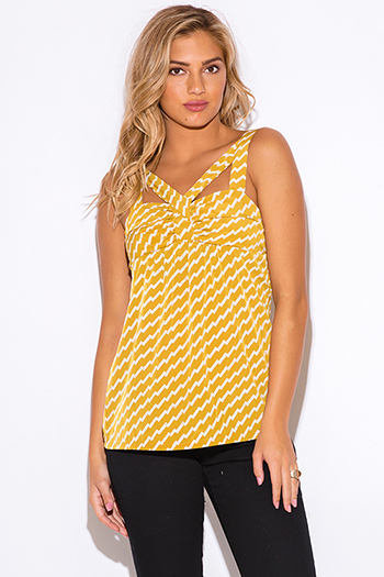 $10 - Cute cheap cut out sides banded waisted tank top - mustard yellow chevron print cut out sexy party tank top