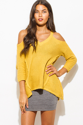 $20 - Cute cheap clothes - mustard yellow cold shoulder long sleeve boho waffle knit sweater top