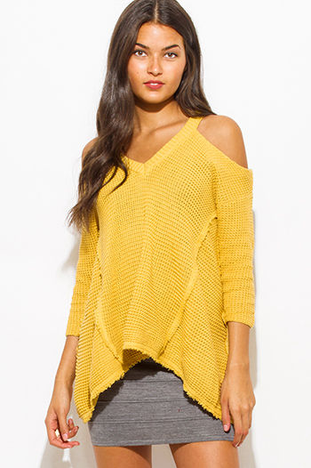 $20 - Cute cheap print cold shoulder blouse - mustard yellow cold shoulder long sleeve boho waffle knit sweater top