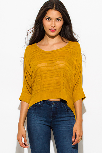 $15 - Cute cheap mustard yellow semi sheer stripe scoop neck dolman quarter sleeve sweater knit top