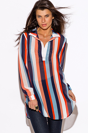 $15 - Cute cheap stripe chiffon sheer top - navy blue and red nautical stripe semi sheer chiffon tunic blouse top