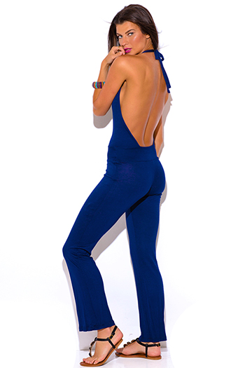 $7 - Cute cheap jumpsuit for women - navy blue deep v neck halter backless summer jumpsuit