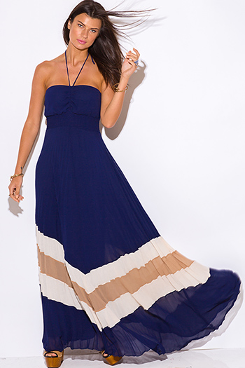 $40 - Cute cheap maxi dress - navy blue chiffon pleated halter evening sexy party boho maxi sun dress