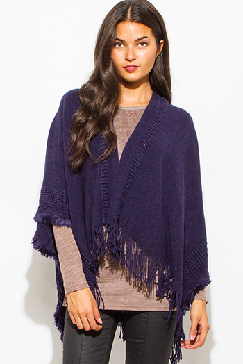 $15 - Cute cheap charcoal gray two toned open front faux fur trim hooded pocketed sweater knit cardigan top - navy blue crochet knit fringe trim open front shawl poncho cardigan jacket