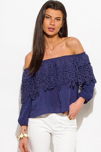 $10 - Cute cheap light blue washed denim quarter sleeve snap button up blouse top - navy blue crochet lace off shoulder long sleeve boho blouse top